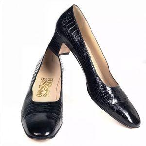 Salvatore Ferragamo Black Crocodile Block Heels